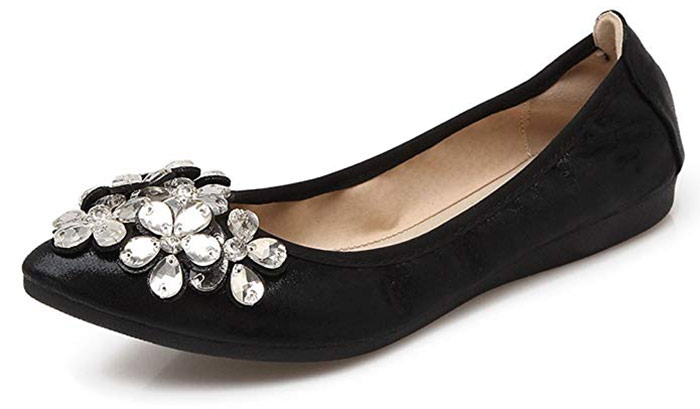 MeeshineWomens Foldable Soft Pointed Toe Ballet Flats Rhinestone
