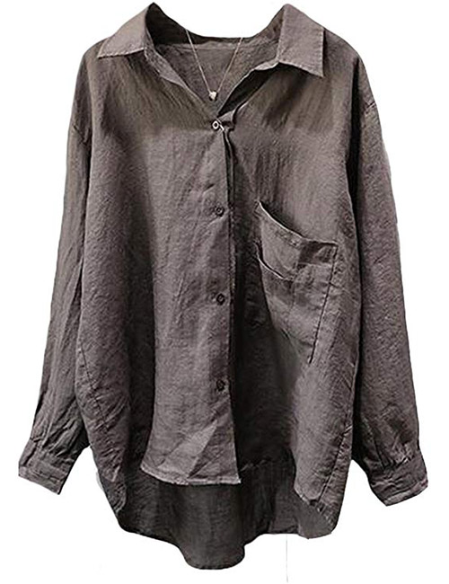 Minibee Women's Casual Cotton Linen Shirt With Long Sleeves