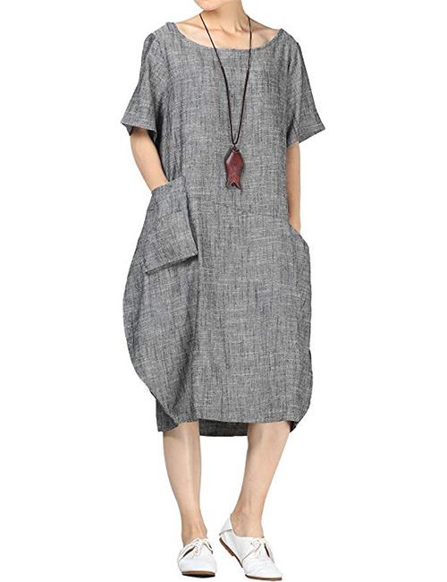 Mordenmiss Women's Baggy Cotton Linen Dress