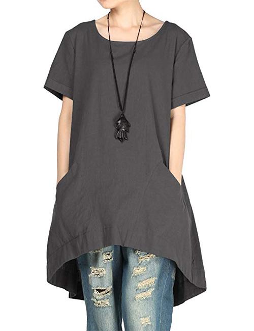 Mordenmiss Women's Cotton Linen Tunic Hi-Low Dress