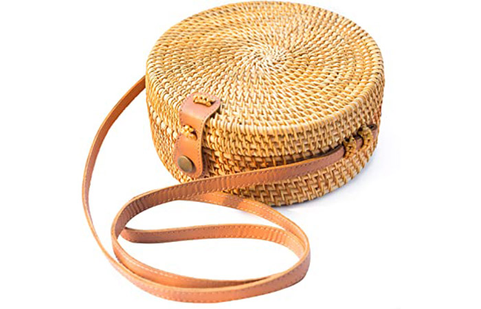 Natural Neo Handwoven Round Rattan Bag