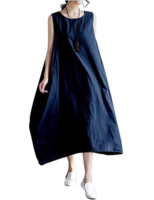 Ninmon Shares Women Linen O-Neck Beach Maxi Dress