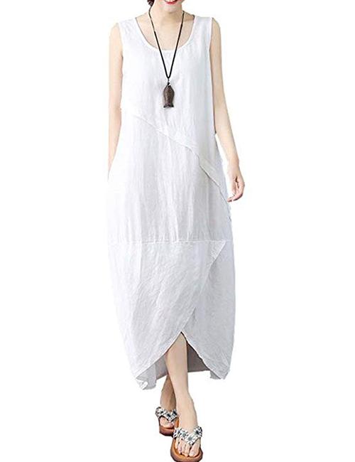 Ninmon Shares Women's Linen Long Sleeveless Dress