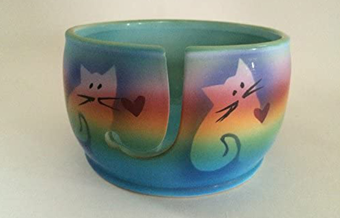 Of Earth and Ocean Kitty Cat Yarn Bowl