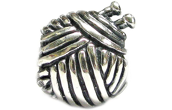 Queenberry Sterling Silver Knitting Wool And Needle Bead Charm