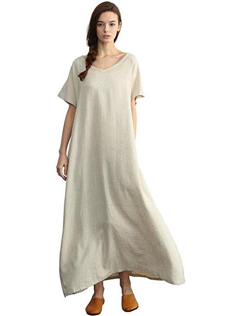 Sellse Women's Linen Loose Summer Long Dress