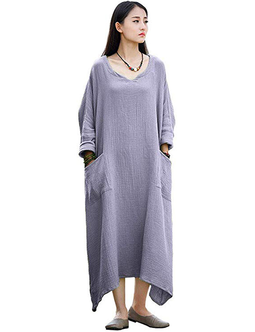 Soojun Women's Casual Cotton Linen Long Dress