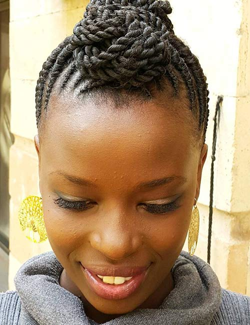 Thin Flat Twists Top Knot