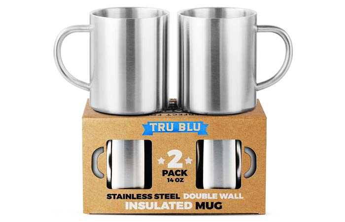 Tru Blu Steel Set Of Insulated Coffee Mugs