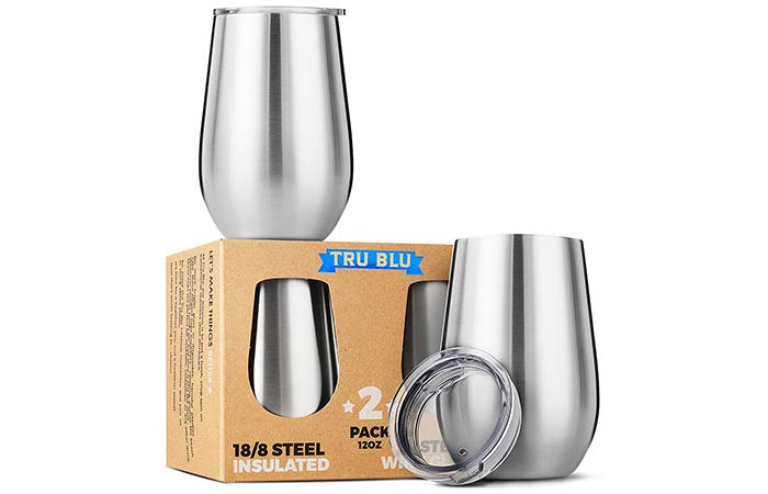 Tru Blu Steel Stainless Steel Wine Glasses With Lids