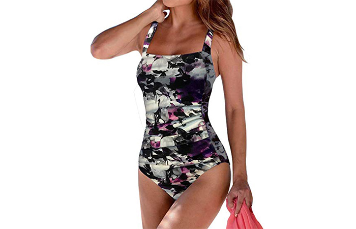 Upopby Women's Vintage Padded Push Up One Piece Swim Suit