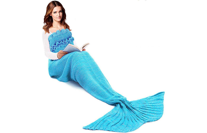 WHITE Mermaid Tail Blanket