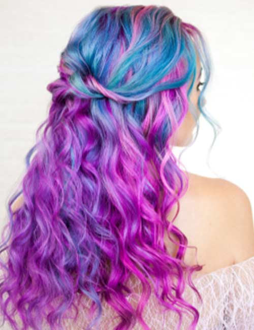 Wild Blue And Purple Curls