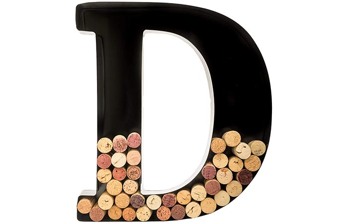 Wills Metal Monogram Letter Wine Cork Holder