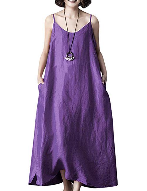 YESNO Women Casual Loose Summer Spaghetti Slip Linen Dress