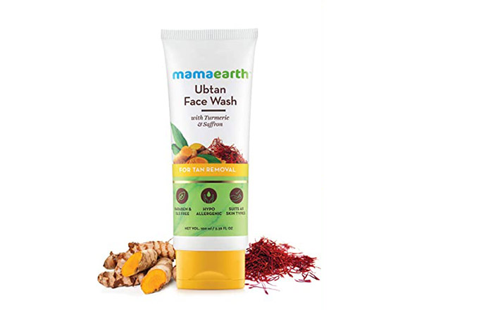 Mamaarth Ubatan Natural Facewash for Dry Skin with Turmeric and Saffron for Tan Removal and Skin Brightening