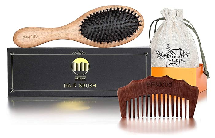 BF Wood Pure Bore Bristol Hair And Comb