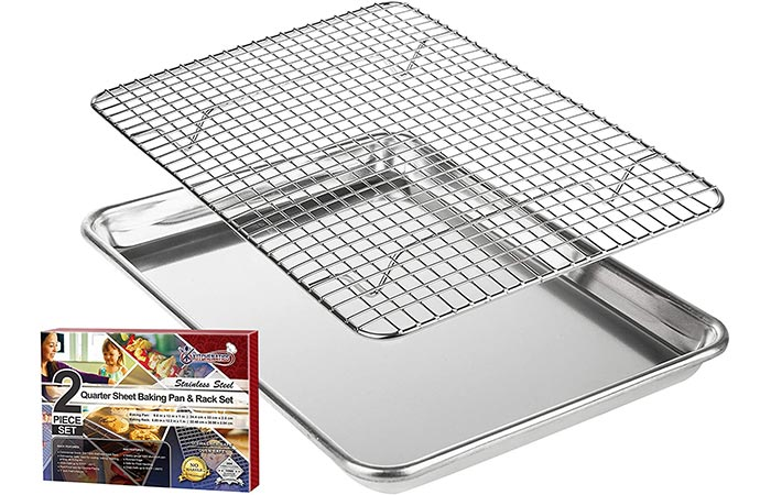 Best Heavy-Duty Baking Sheet: KITCHENATICS Roasting & Baking Sheet With Cooling Rack