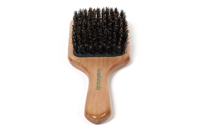 Gran Natural Bore Bristol Pedal Hair Brush Wooden Handle For All Hair Types