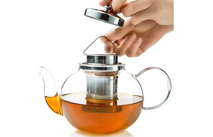 Kitchen Kite Glass Teapot With Stainless Steel Strainer