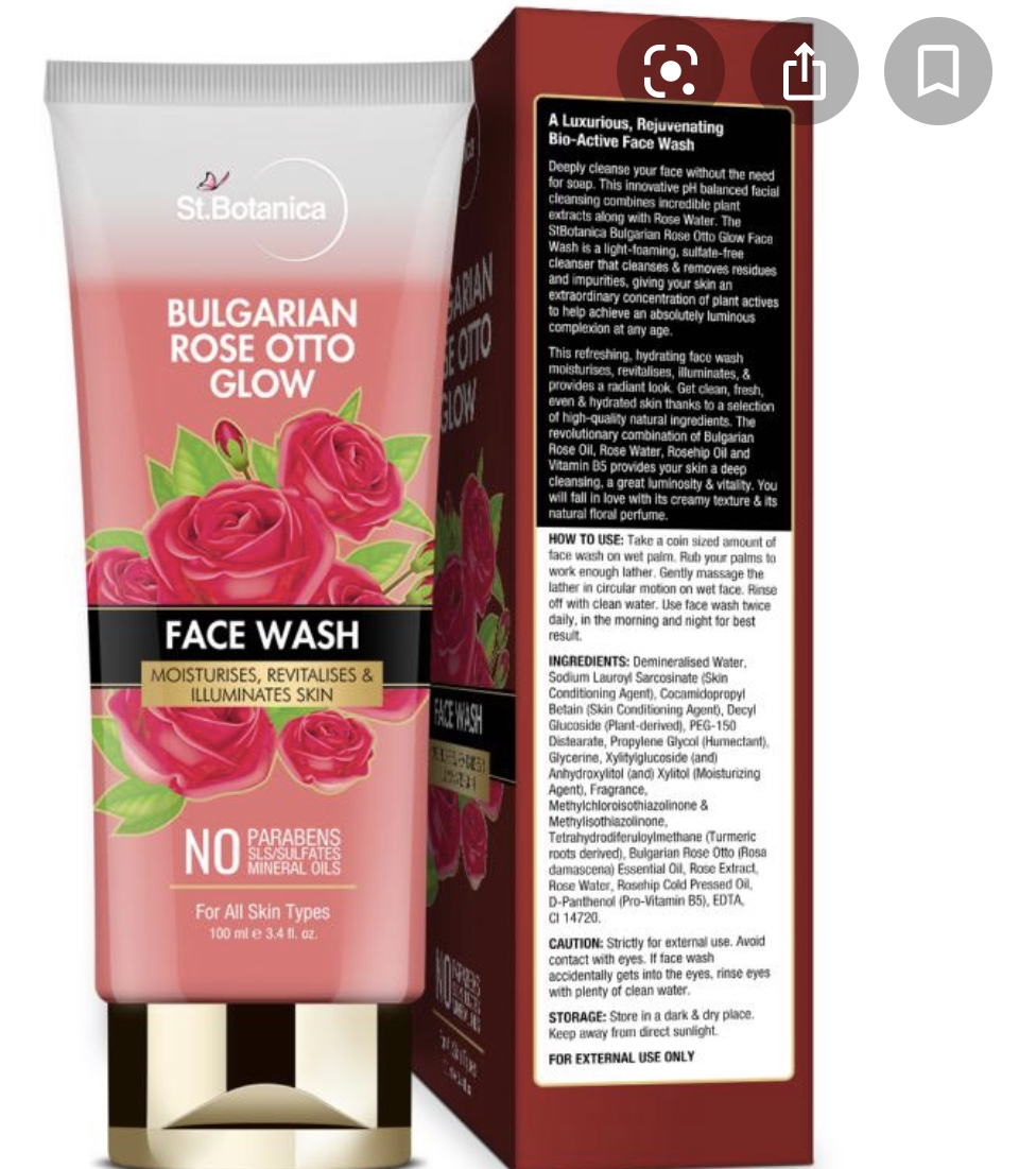 StBotanica Bulgarian Rose Otto Glow Face Wash -Glowy Looking Skin-By shifapochi