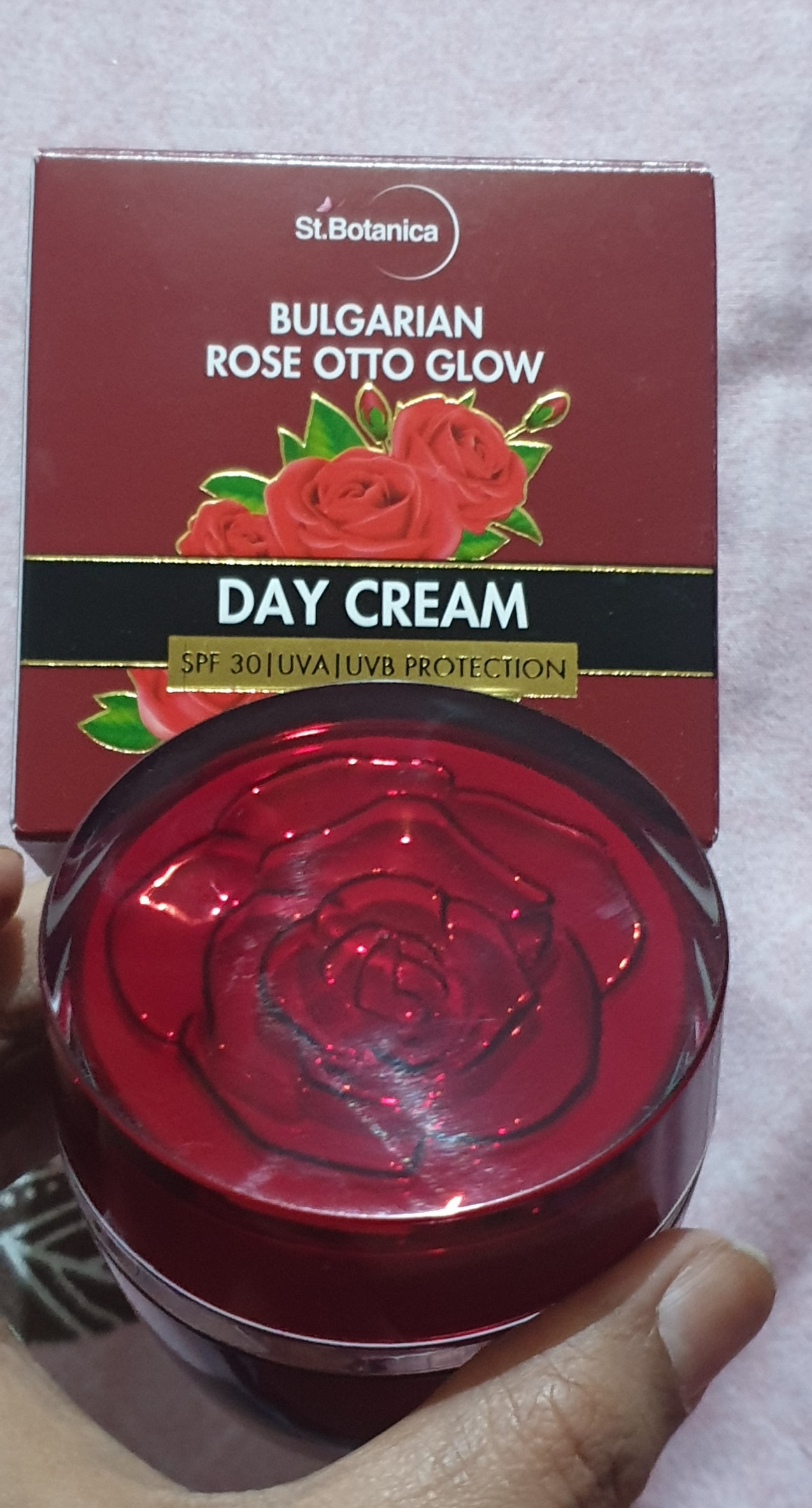 St.Botanica Bulgarian Rose Otto Glow Day Cream-Highly effective in protecting our skin from Sun.-By being_amna-2