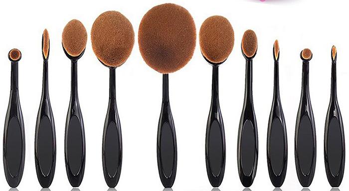 Beauty Kate 10 Pcs Pro Oval Makeup Brush Set