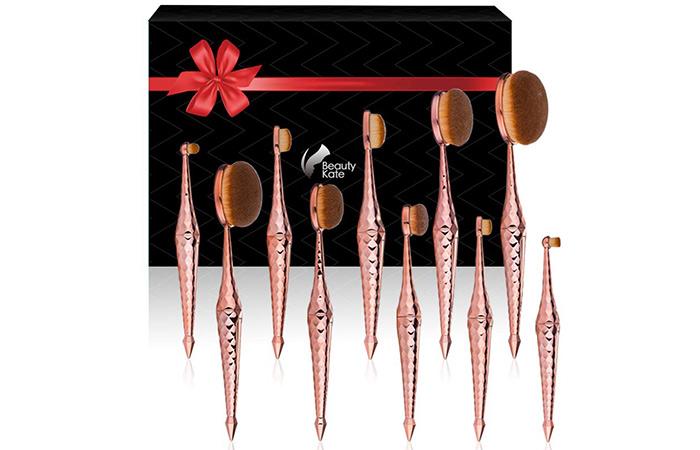 Beauty Kate Diamond Cut Oval Makeup Brush Set