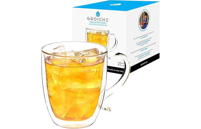 Best Glass Coffee Mug: GROSCHE Cyprus Double-Walled Glass Coffee Mug