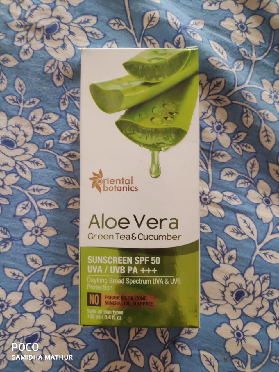 Oriental Botanics Aloe Vera Green Tea & Cucumber Sunscreen SPF 50-A Good Product-By Samidha_Mathur-2