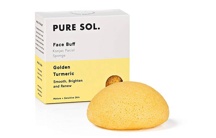 pureSOL Face Buff Konjac Facial Sponge – Golden Turmeric