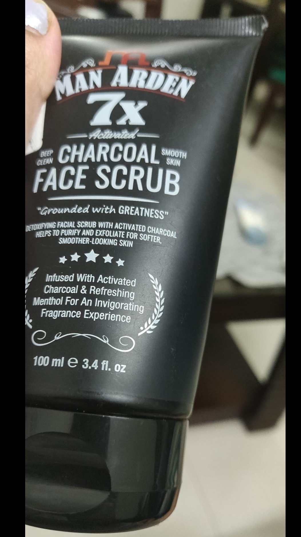 Man Arden 7X Activated Charcoal Face Scrub-Detoxify your skin with Charcoal Scrub-By eesha_srivastava