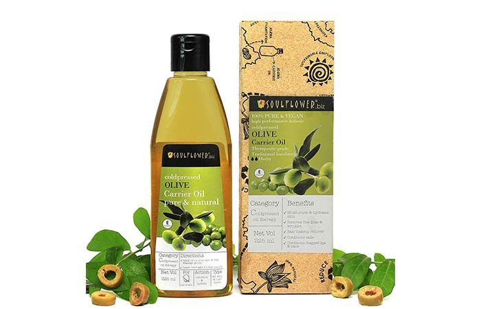 Soulflower Olive Oil, 225ml 100 % Natural Cold Pressed for Skin, Hair & Lips