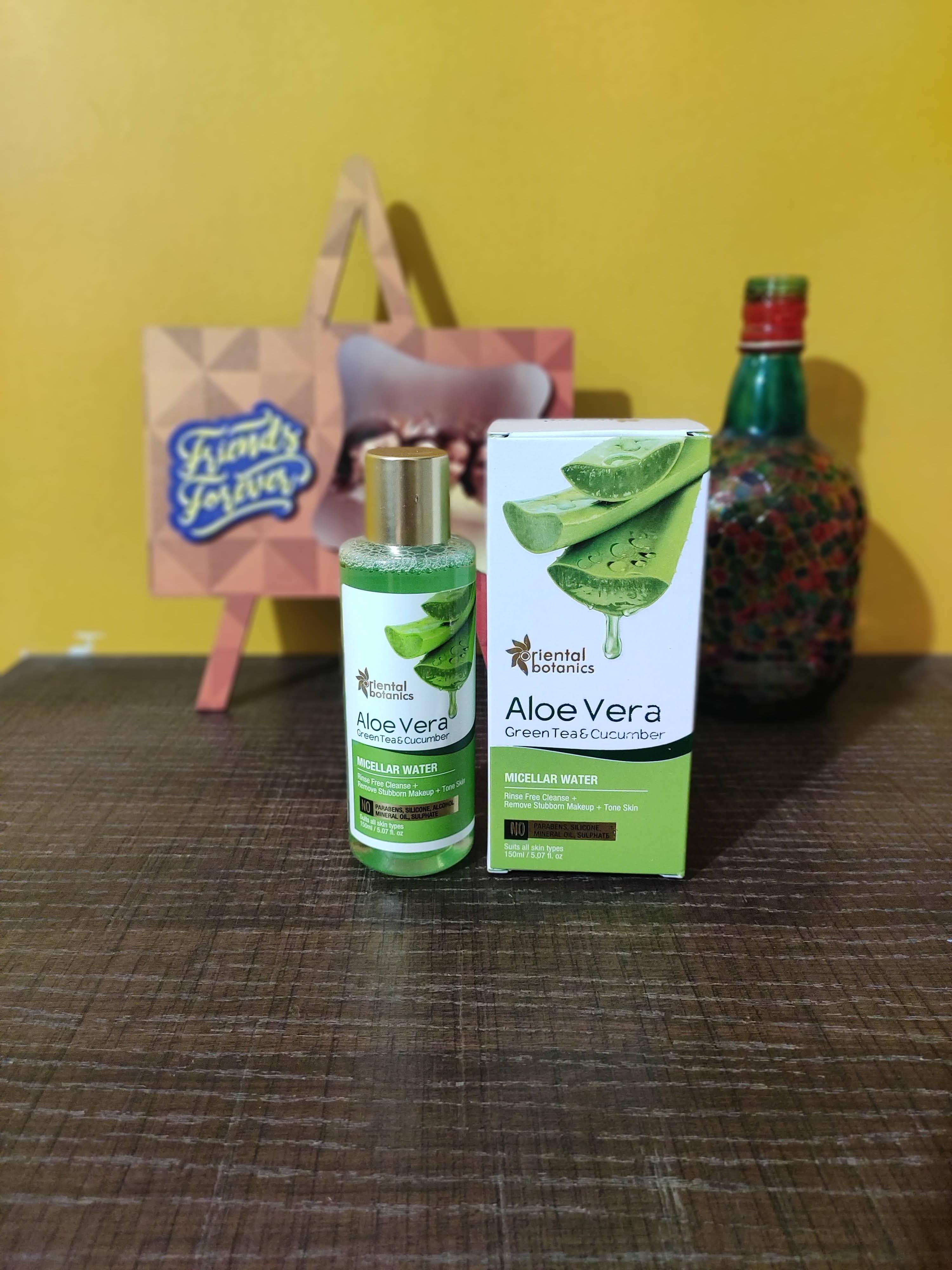 Oriental Botanics Aloe Vera, Green Tea & Cucumber Micellar Water -The best rinse-free natural makeup remover-By jaya_sathaye