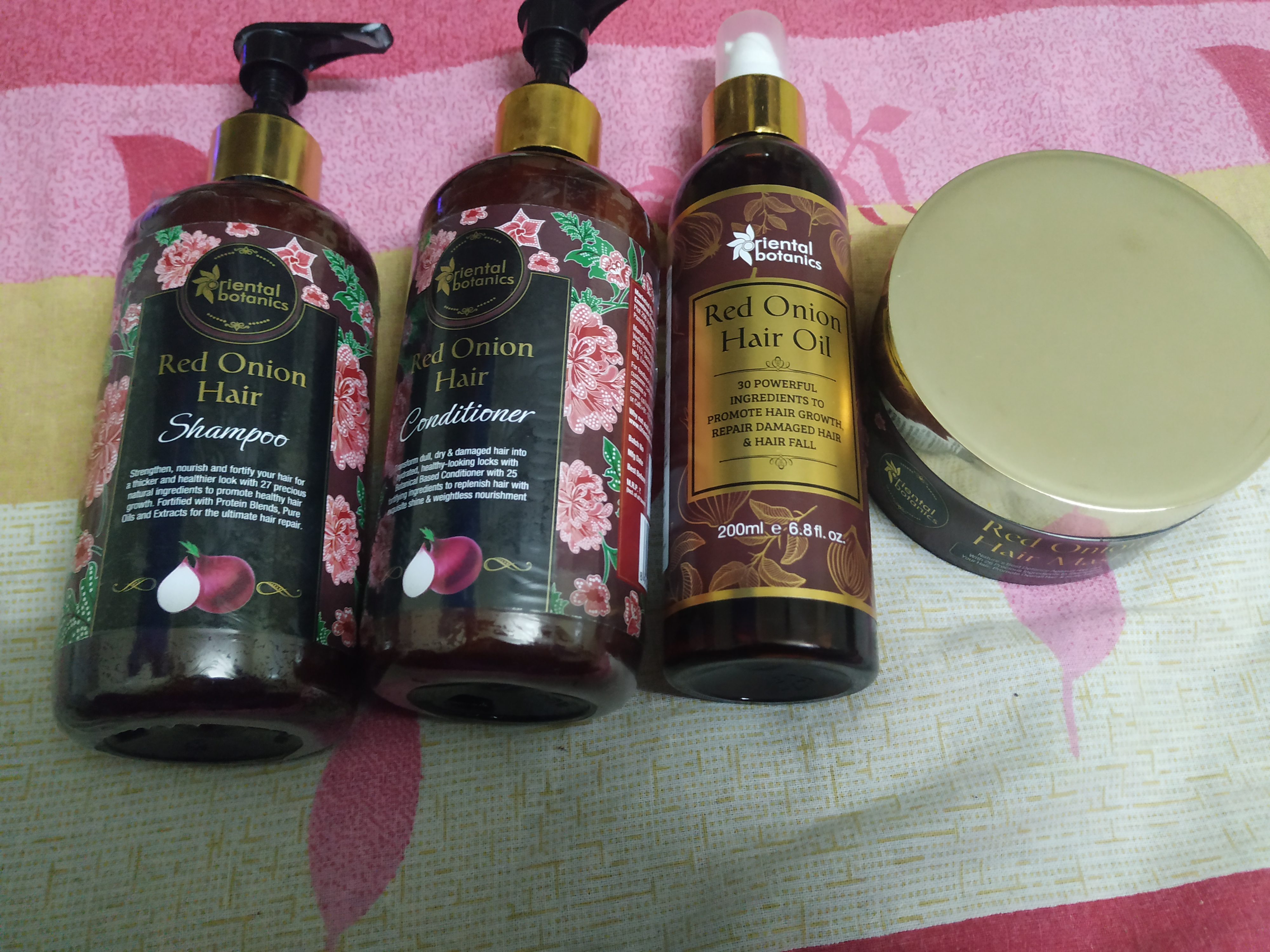 Oriental Botanics Red Onion Hair Shampoo + Conditioner + Oil -Best red onion hair care kit so far-By rita_punjabi