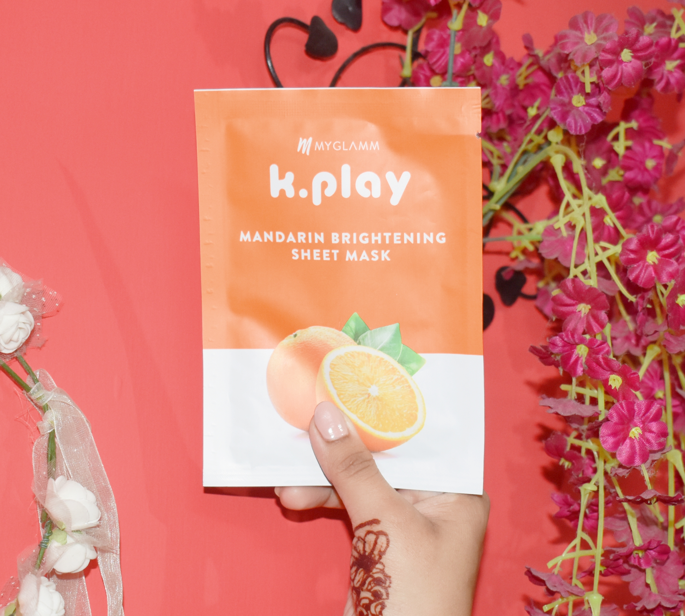 MyGlamm K.Play Mandarin Brightening Sheet Mask-Gives intense hydration.-By ammaraazmi