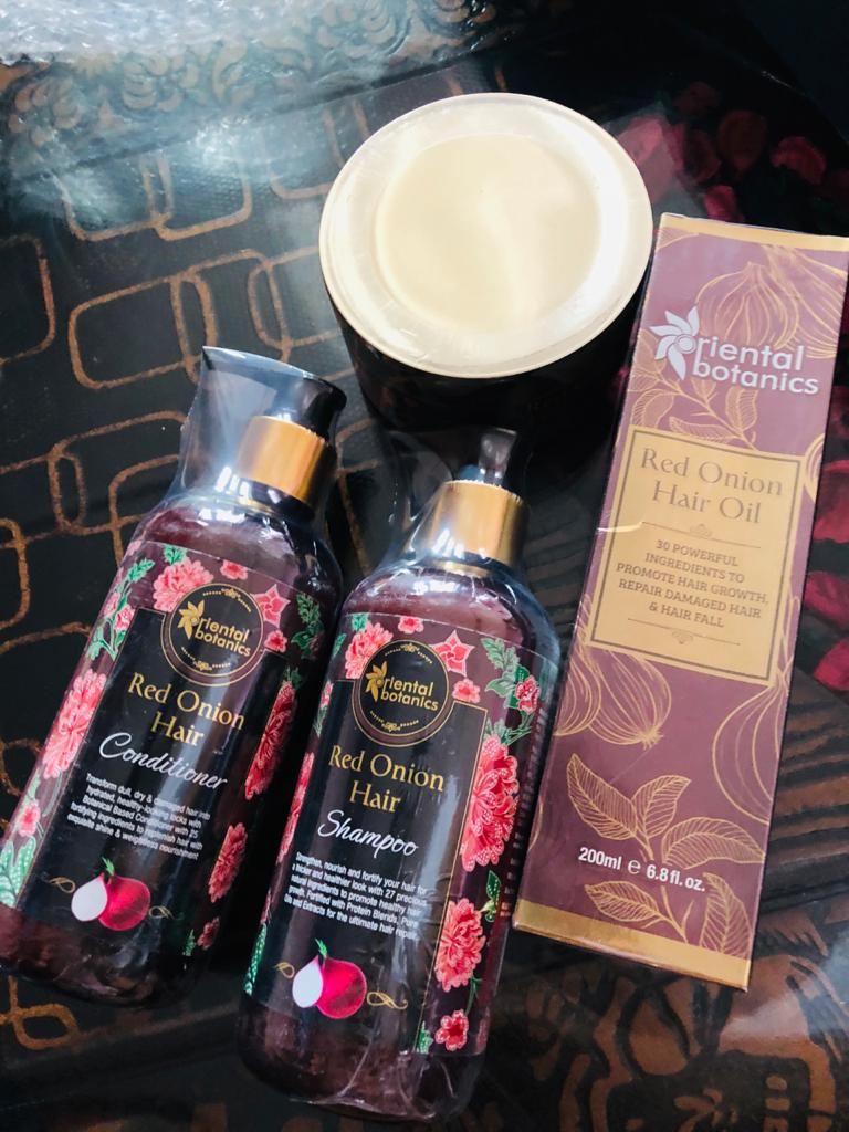 Oriental Botanics Red Onion Hair Shampoo Conditioner Oil Mask-Softens my hair and helpful in solving the problem of Dandruff-By tanya_mehta-1