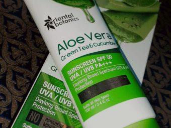 Oriental Botanics Aloe Vera Green Tea & Cucumber Sunscreen SPF 50 -Amazing product-By somya_jaiswal