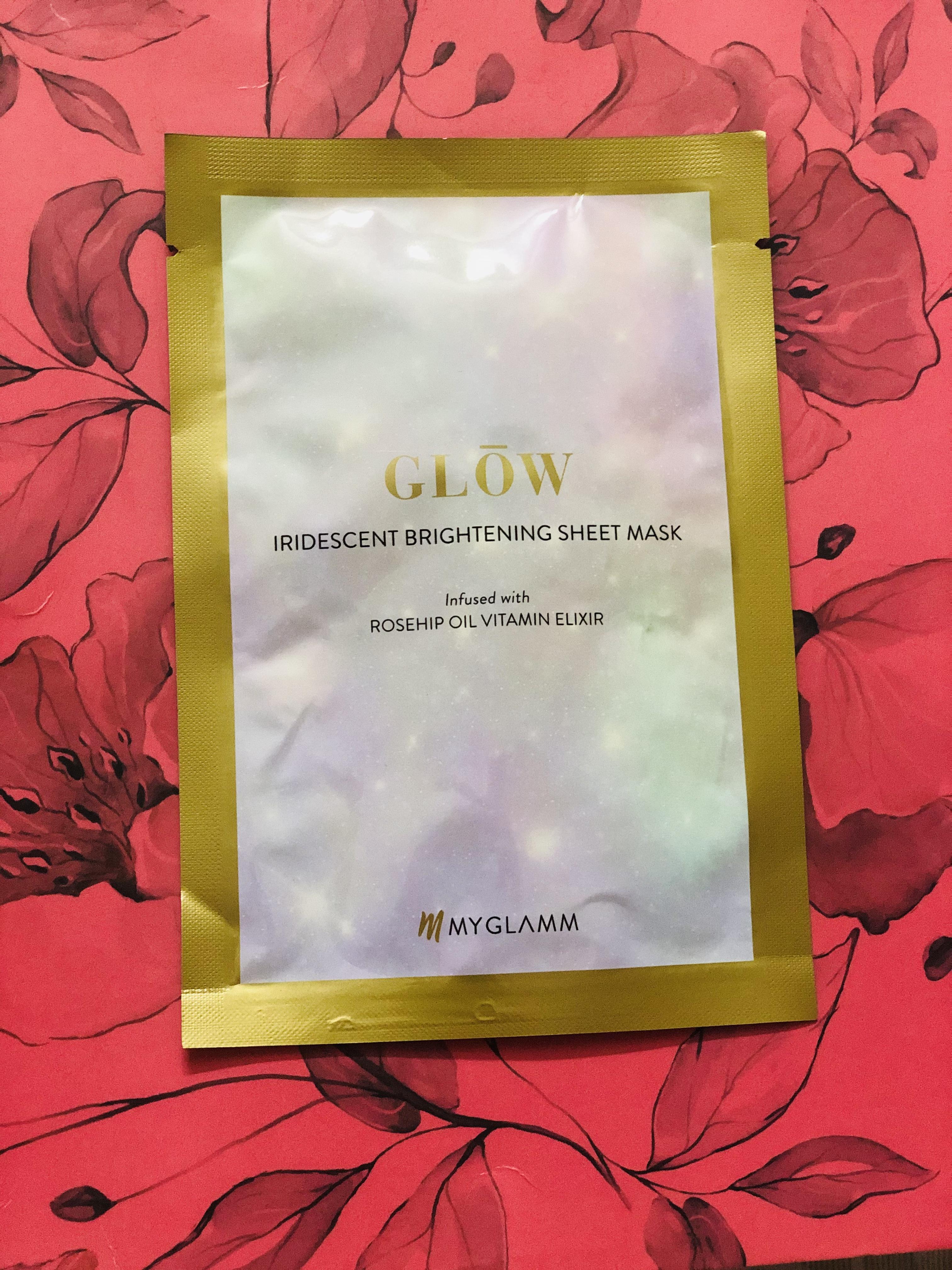 MyGlamm Glow Iridescent Brightening Sheet Mask Rosehip Extract Vitamin Elixir-Instant glow-By ritzytweety