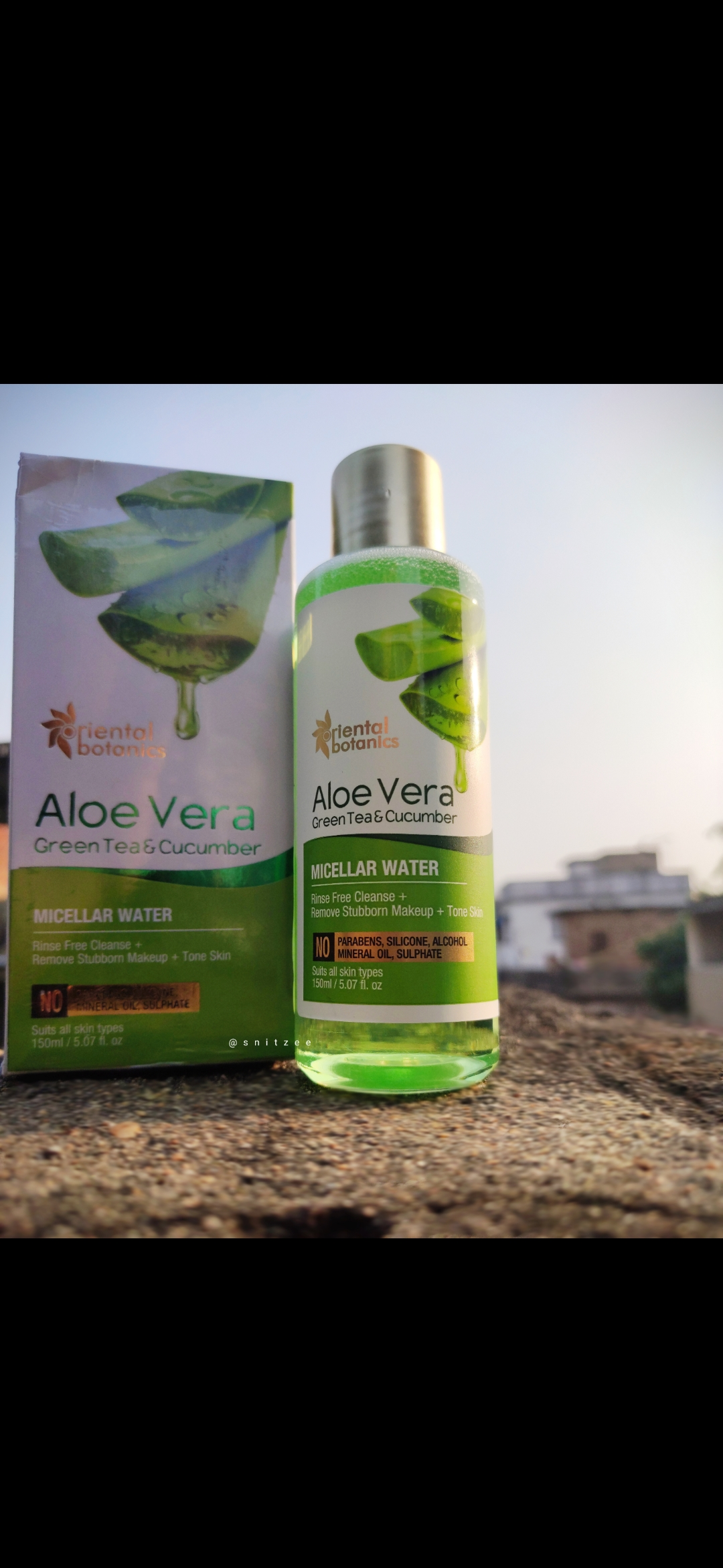 Oriental Botanics Aloe Vera, Green Tea & Cucumber Micellar Water-Good for Daily Use-By snitzee