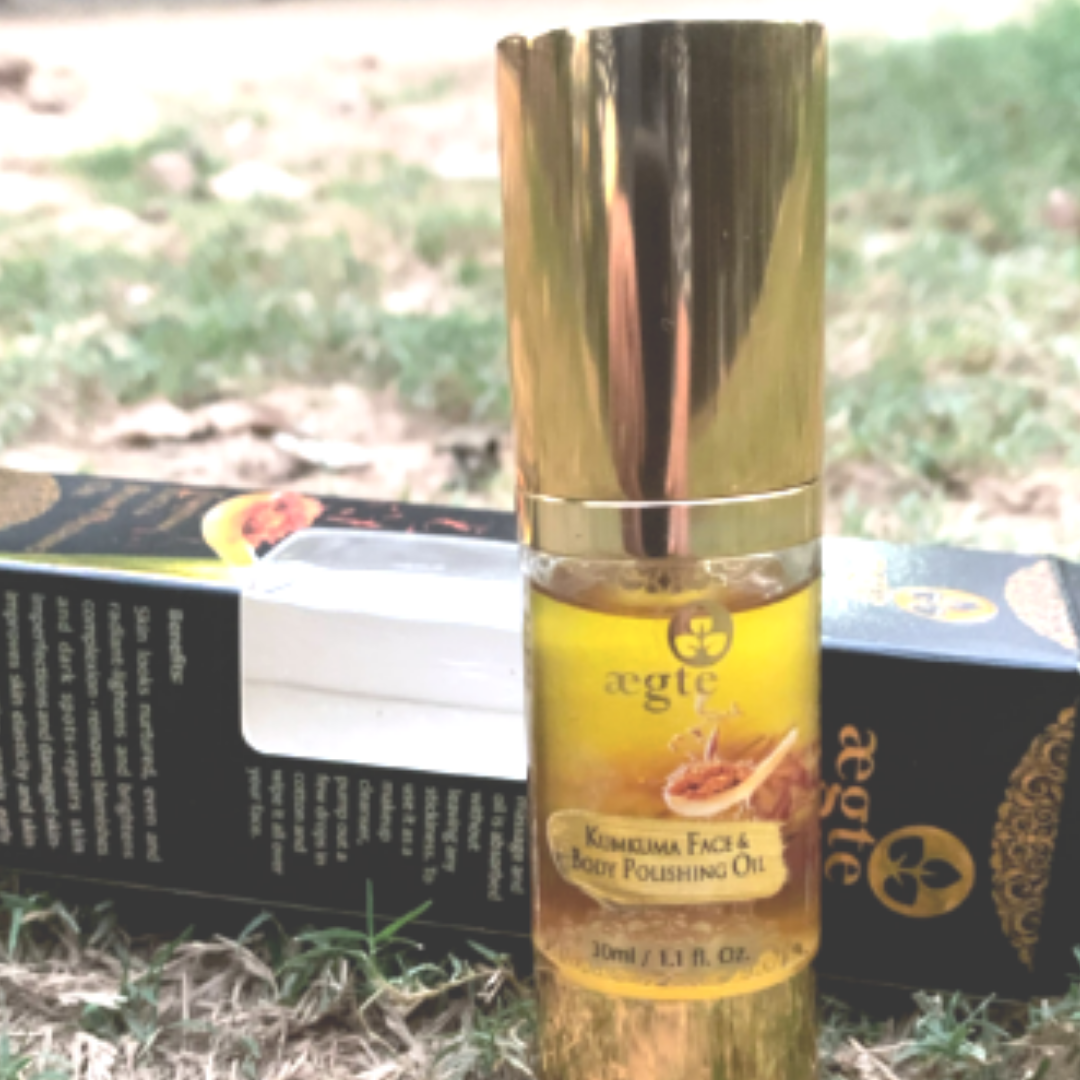 Aegte Ultra Luxurious Kumkuma Face and Body Polishing Oil – 30 ml / 1 fl. Oz -Perfect for oily skin.-By sugandhaduggal