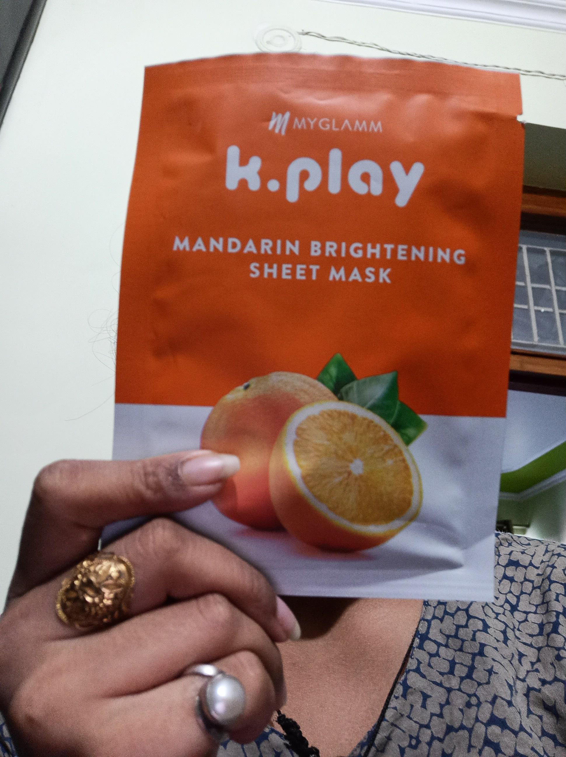 MyGlamm K.Play Mandarin Brightening Sheet Mask-Great product-By kanu4