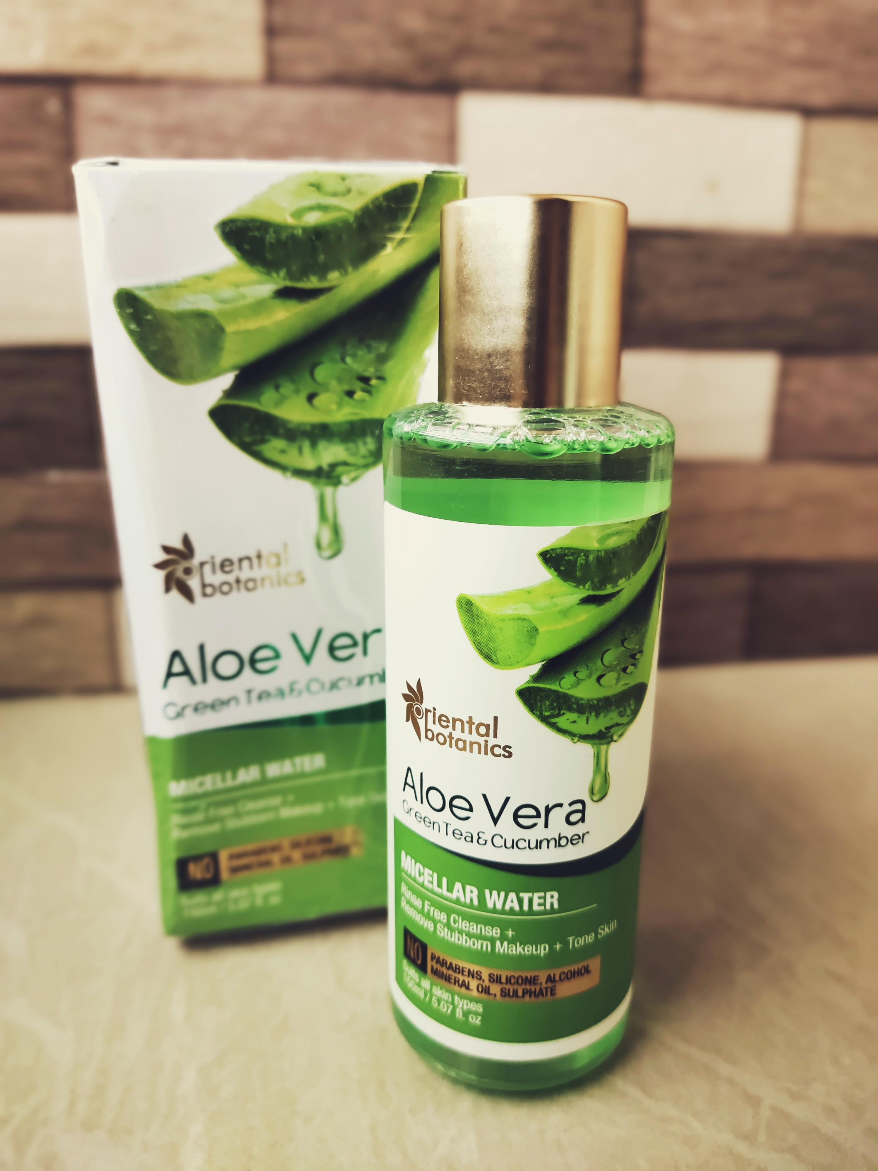 Oriental Botanics Aloe Vera, Green Tea & Cucumber Micellar Water -Best Natural Make-up remover-By sairekha