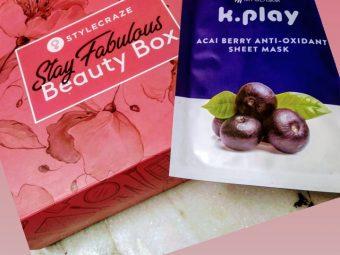 MyGlamm K.Play Acai Berry Anti-Oxidant Sheet Mask -Very Hydrating Skin guard-By madhur19