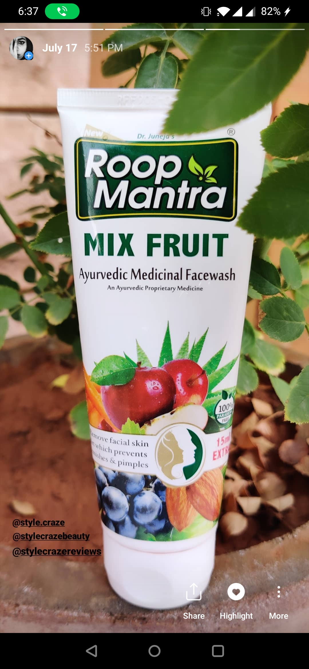 Roop Mantra Mix Fruit Face Wash -Amazing Facewash-By anje