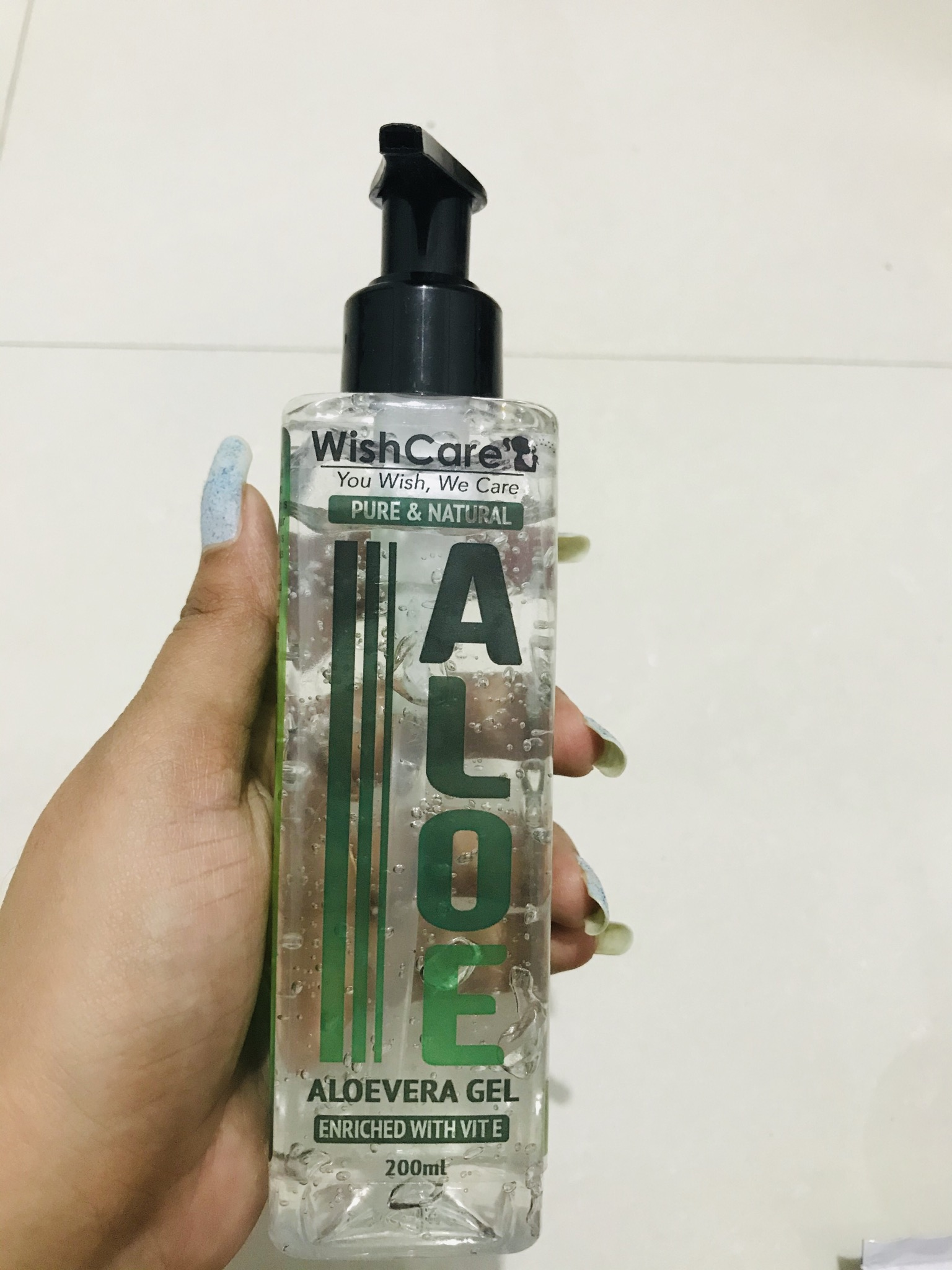 WishCare Pure & Natural Aloe Vera Gel -Good for skin and hair both-By ikhu