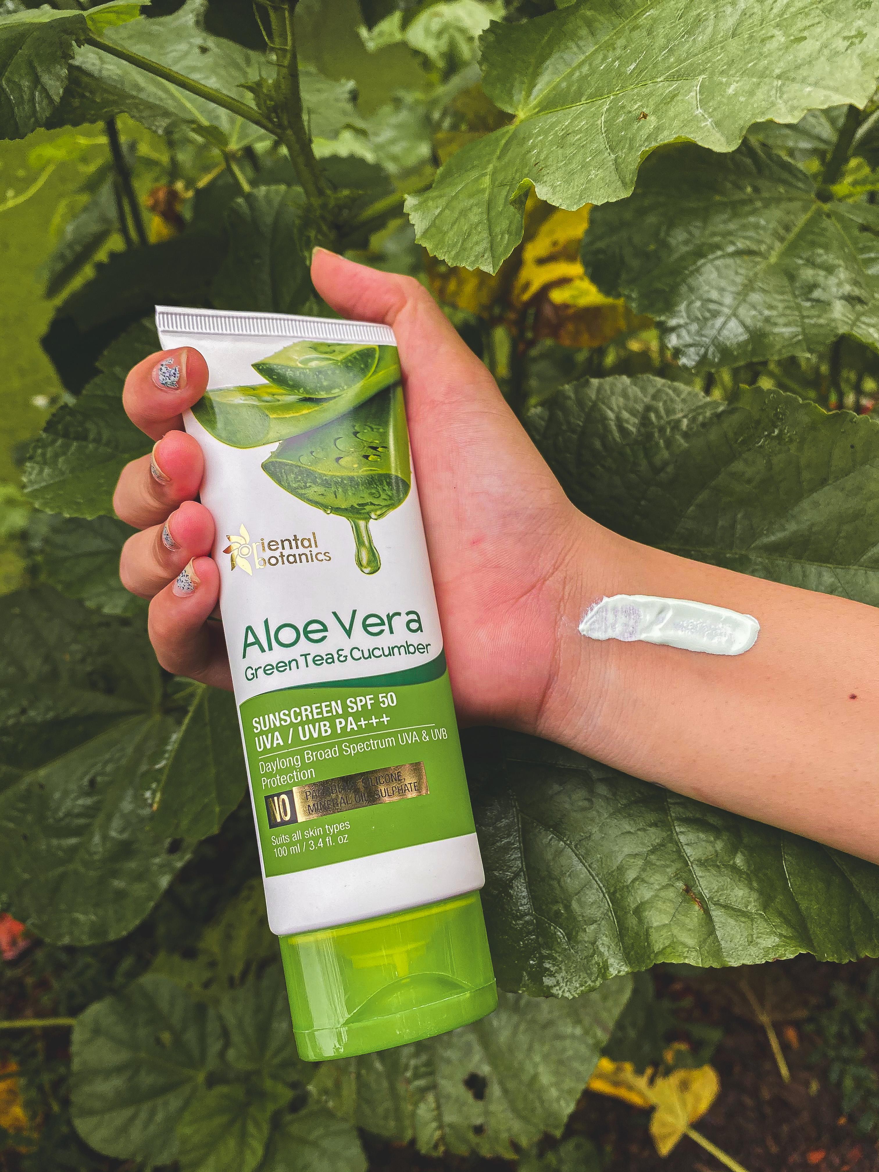 Oriental Botanics Aloe Vera Green Tea & Cucumber Sunscreen SPF 50-Lovely product-By mansigandhi98