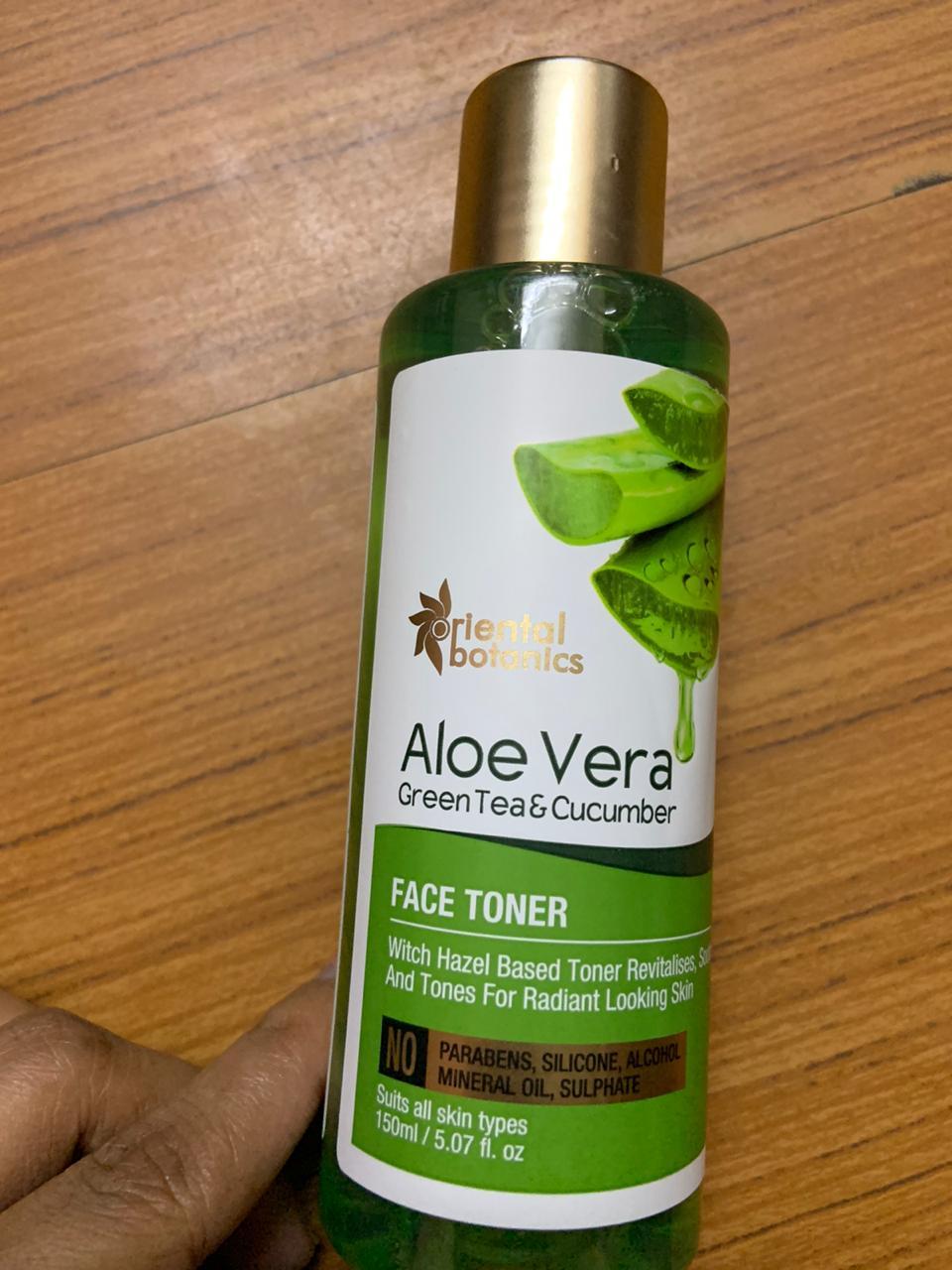 Oriental Botanics Aloe Vera, Green Tea & Cucumber Face Toner -Skin toner with aloveragel, cucumber, green tea-By aumrisha