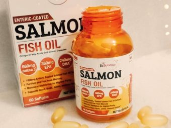 St.Botanica Salmon Fish Oil 1000mg; 300mg Omega-3 with 180mg EPA, 120mg DHA – 60 Enteric Coated Softgels pic 1-Using this with my diet plan!-By glitterlife_diksha