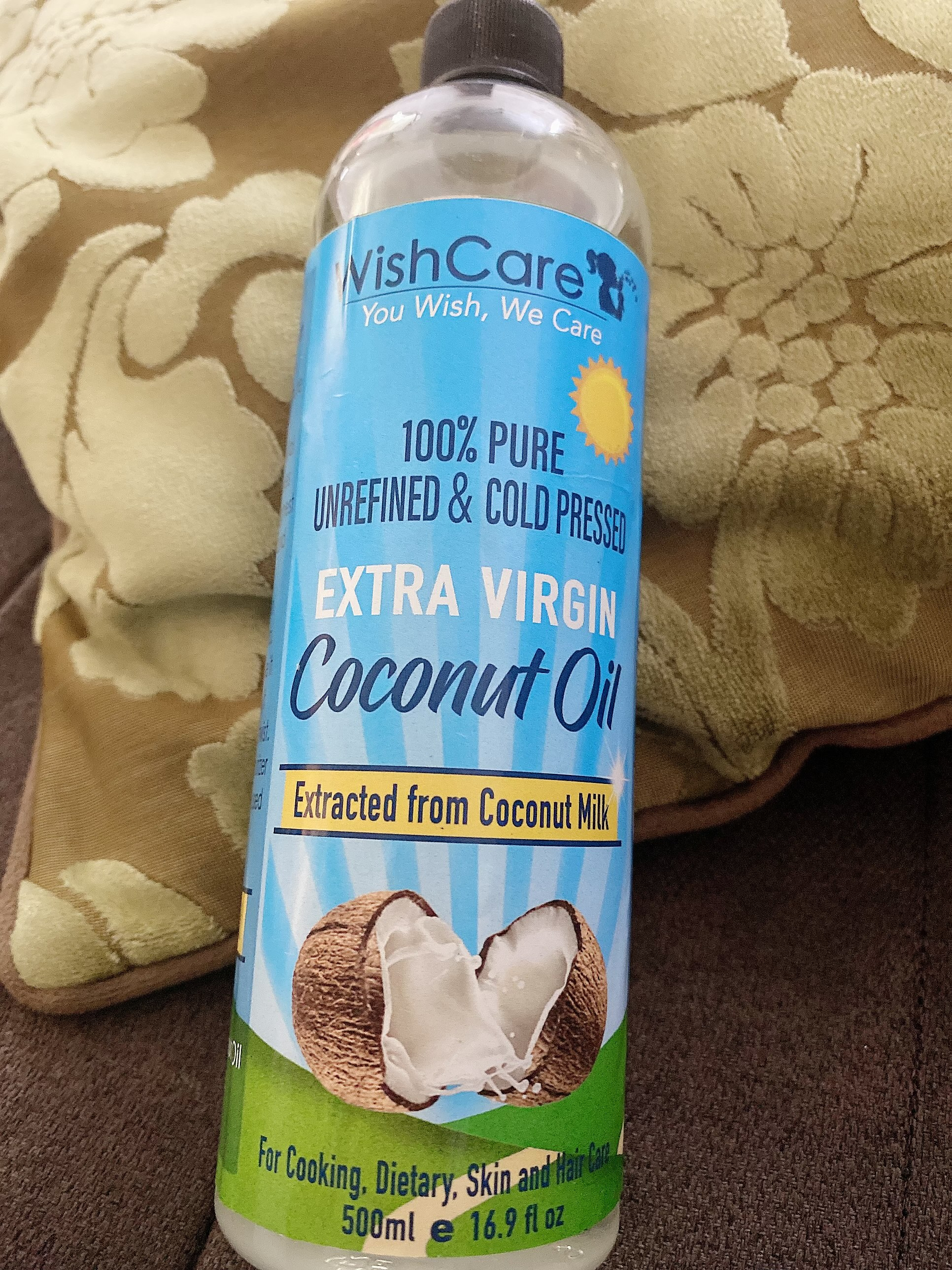 WishCare Cold Pressed Extra Virgin Coconut Oil-Cold pressed coconut oil for deep nourishment of long strong hair ,recommend it .-By aayushi_gagan_bhatia